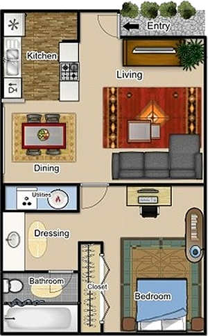 One Bedroom / One Bath - 640 Sq. Ft.*